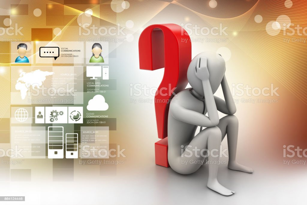 3d man sitting near the question mark royalty-free stock photo