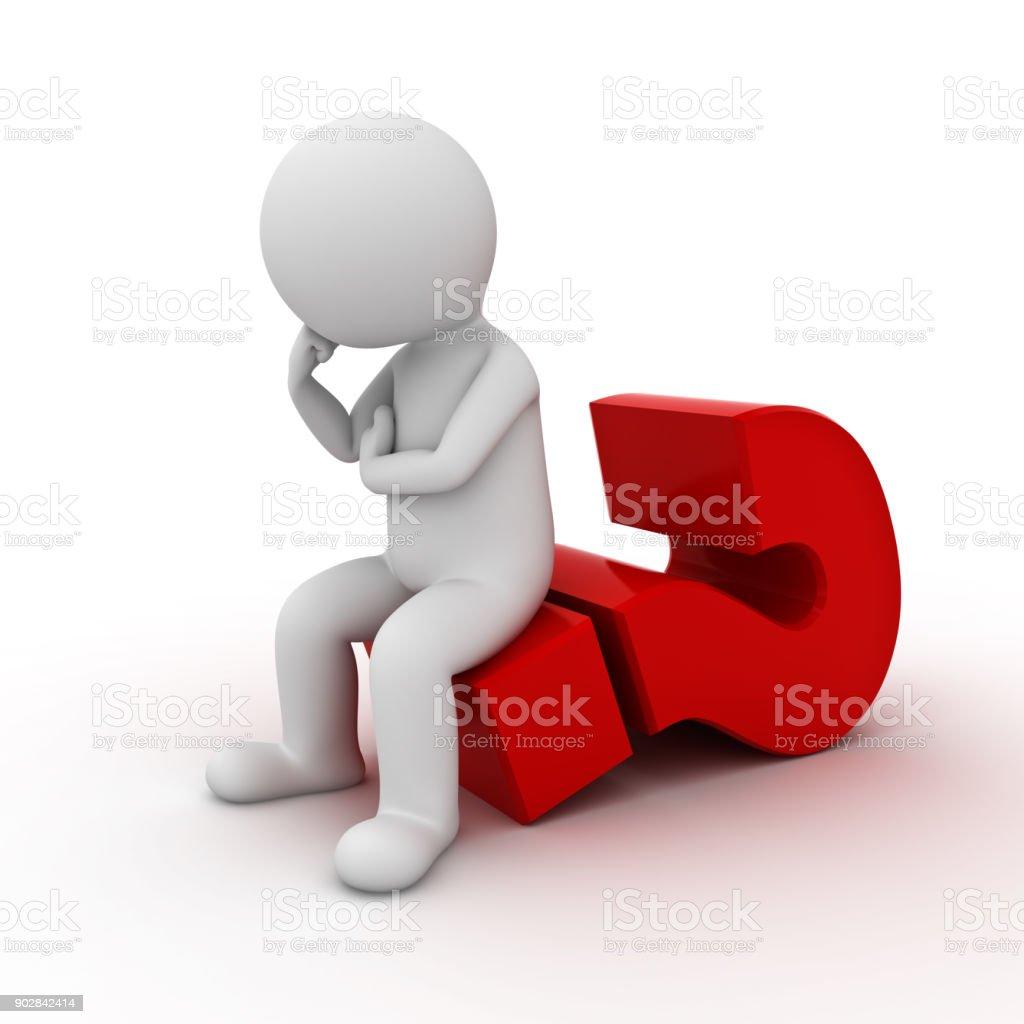 3D hombre sentado en el gran signo de interrogación rojo y pensamiento aislado sobre fondo blanco. 3D render - foto de stock