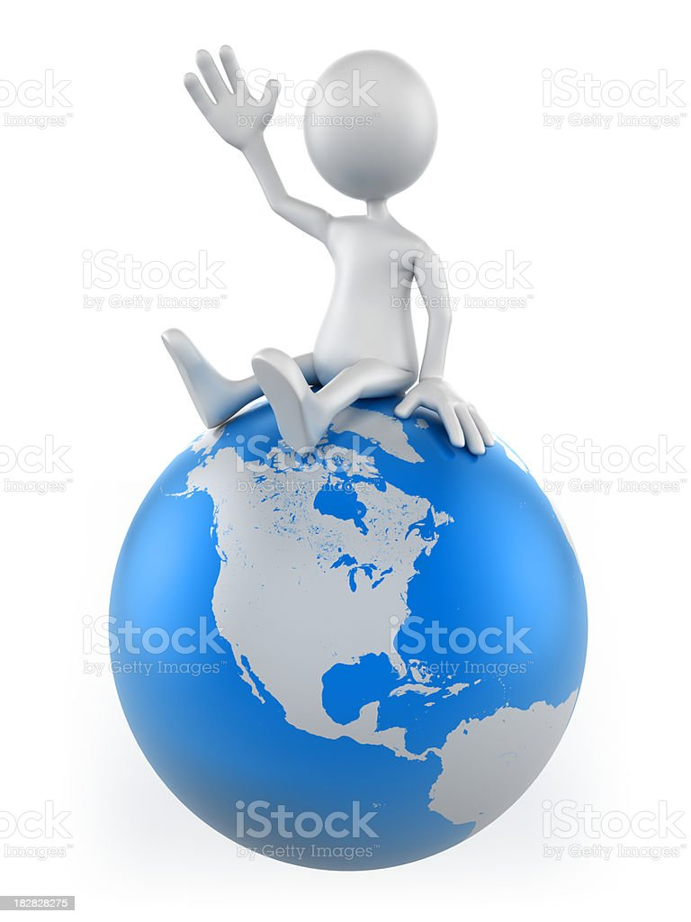 3d Man sitting on earth globe, isolated with clipping path stock photo