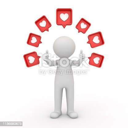 istock 3d man standing and doing like thumbs up hand with many social media notification love like heart icon pins above his head isolated on white background with shadow 3D rendering 1136680673