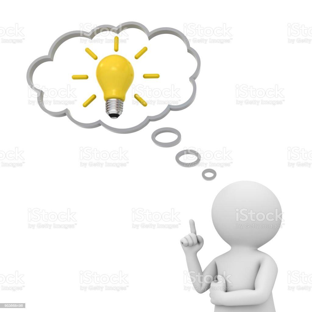3D hombre pensando con bombilla de idea en globo por encima de su cabeza aislada sobre fondo blanco. Render 3D - foto de stock