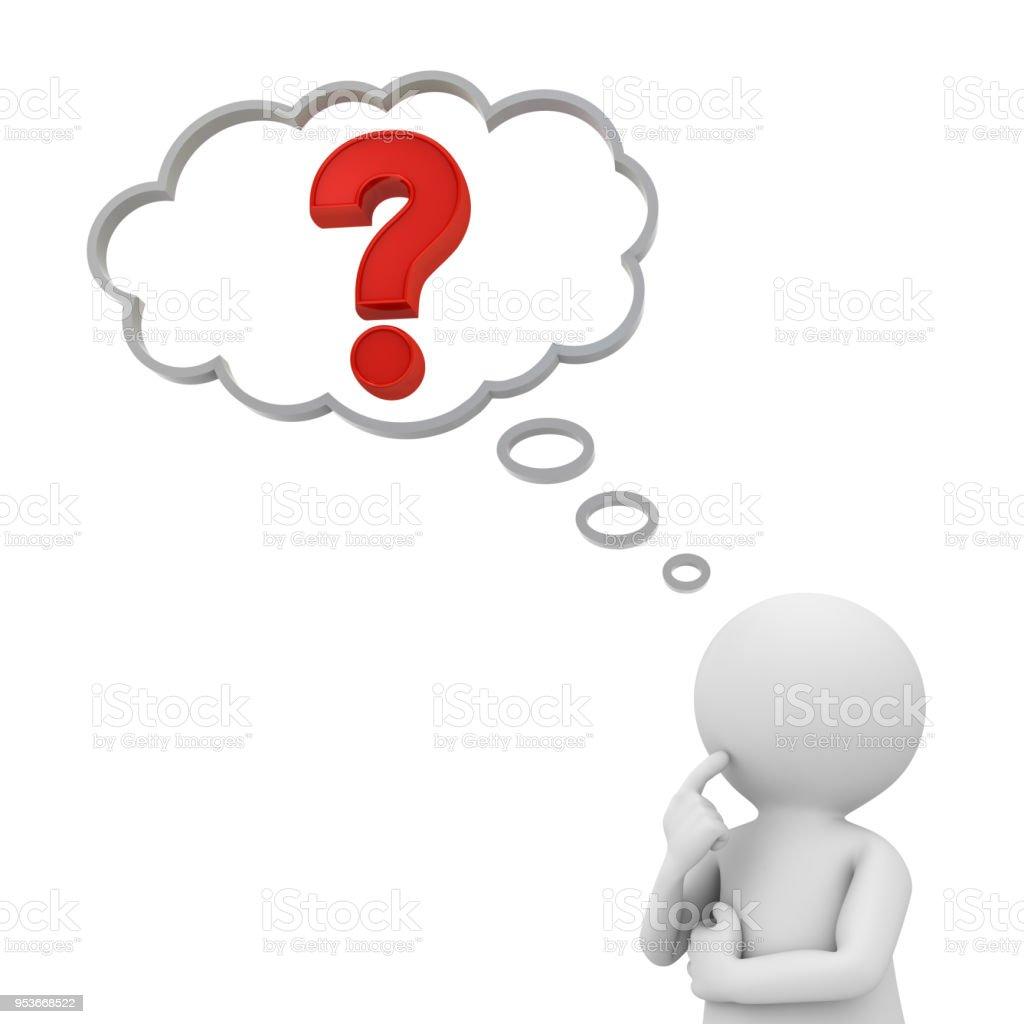 3D hombre pensando con signo de interrogación rojo en globo arriba sobre fondo blanco. Render 3D - foto de stock