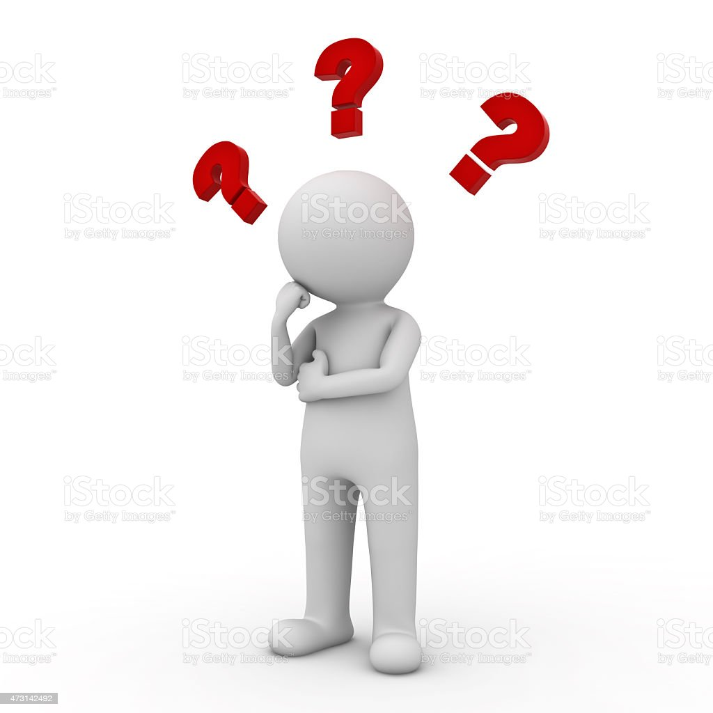 3d man thinking with red question marks stock photo