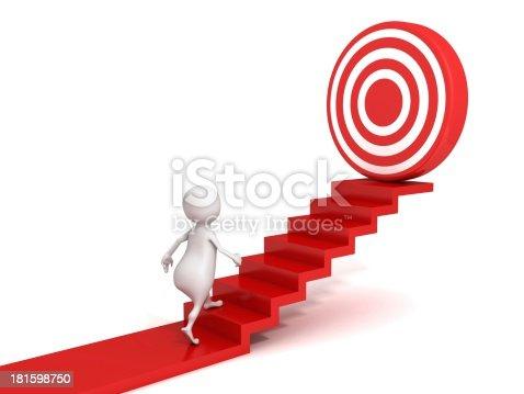 1127097479istockphoto 3d man walking up to target on success ladder 181598750