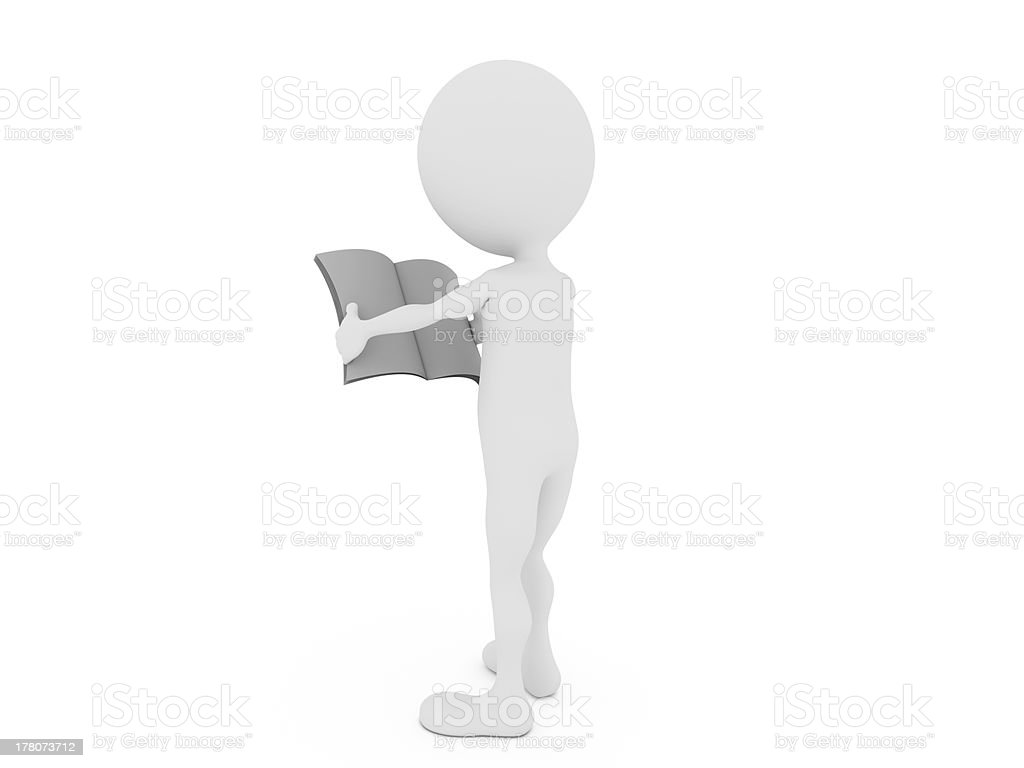 3d man with blank newspaper royalty-free stock photo