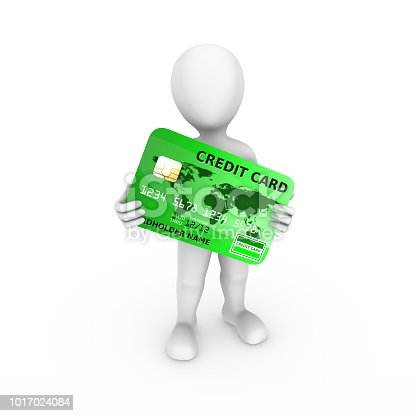 istock 3d man with blue credit card in hands. 3d rendered illustration. 1017024084