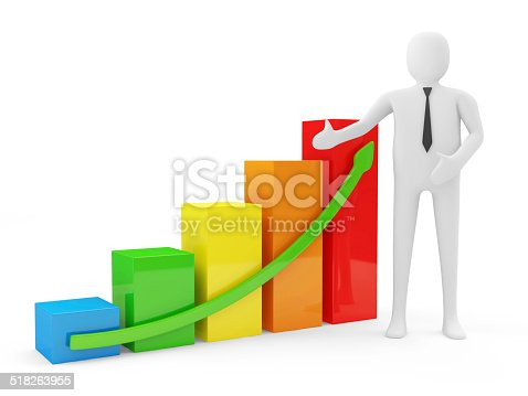 istock 3d Man with Colorful Business Graph isolated on white background 518263955