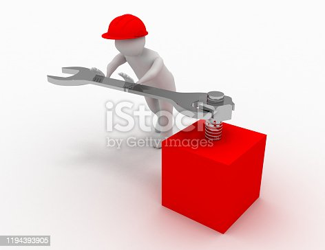 istock 3d man with fork spanner tightening a nut on white background 1194393905