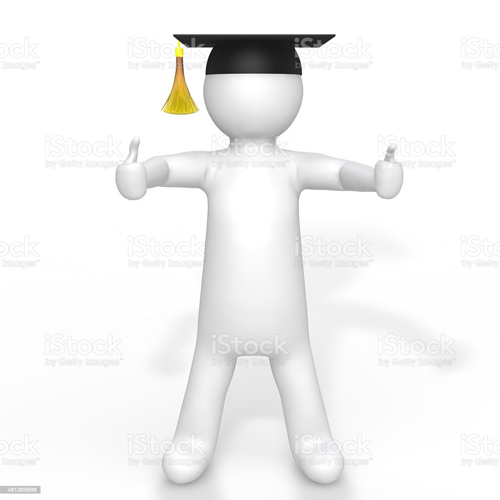 3d man with graduation hat stock photo