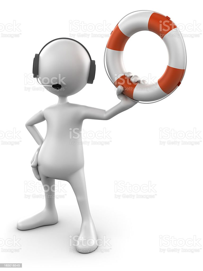 3d Man with headset and life buoy, isolated w.clipping path royalty-free stock photo
