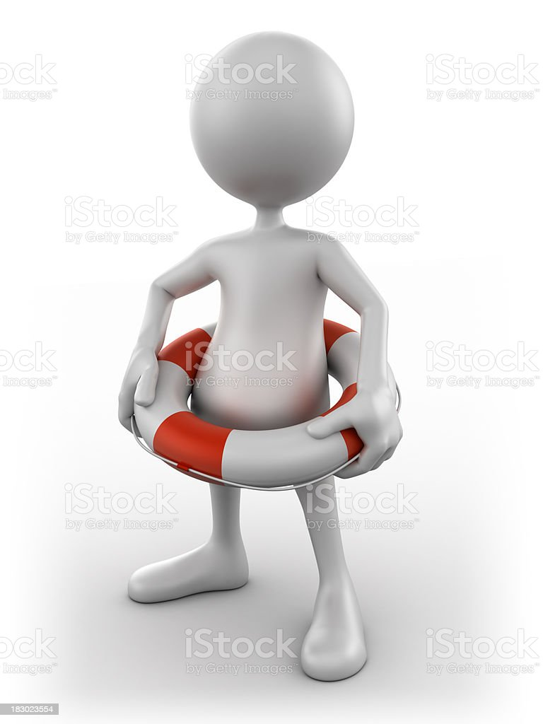 3d Man with holding life buoy, isolated w.clipping path royalty-free stock photo