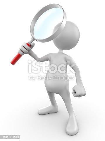 3 d uomo con lente di ingrandimento isolatoclipping path - Specchio con lente di ingrandimento ...