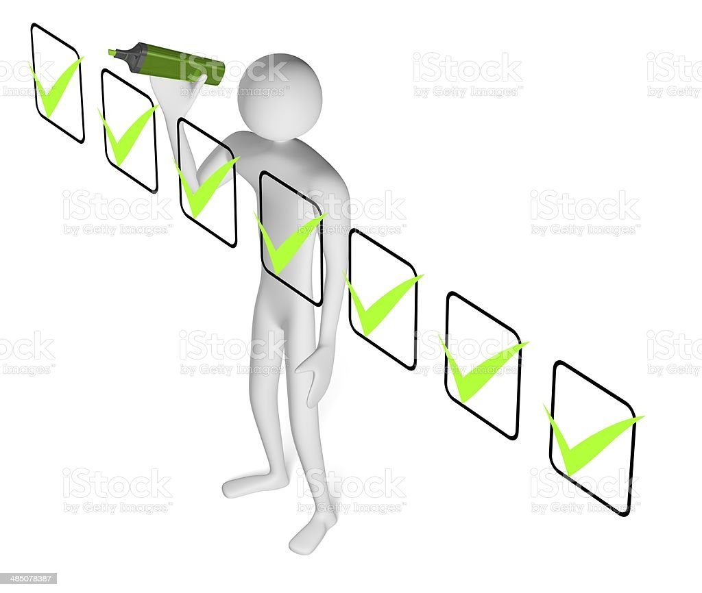 3d man with marker drawing tick in checklist stock photo