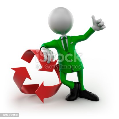471353682 istock photo 3d man with Recycle symbol - isolated / clipping path 185083801