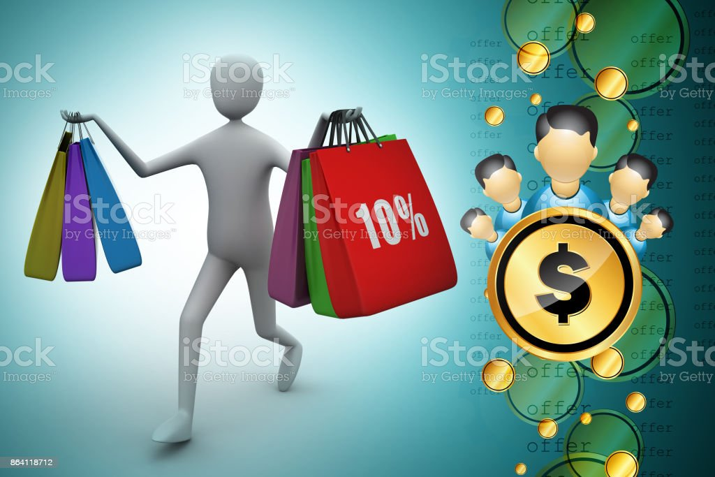 3d man with shopping bags royalty-free stock photo