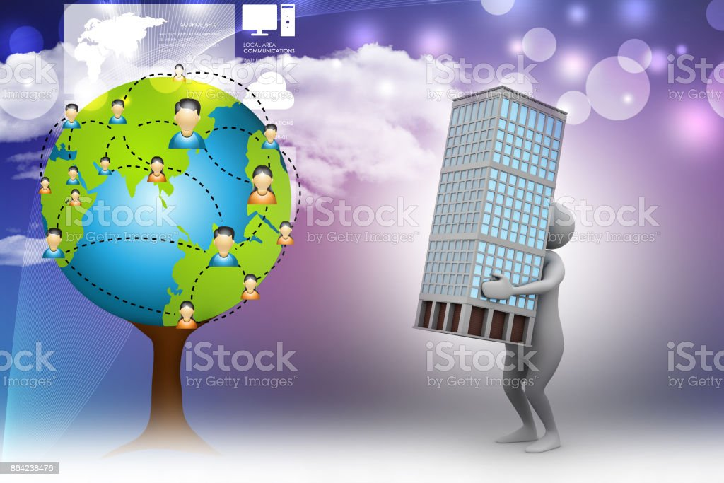 3d man with smart home royalty-free stock photo
