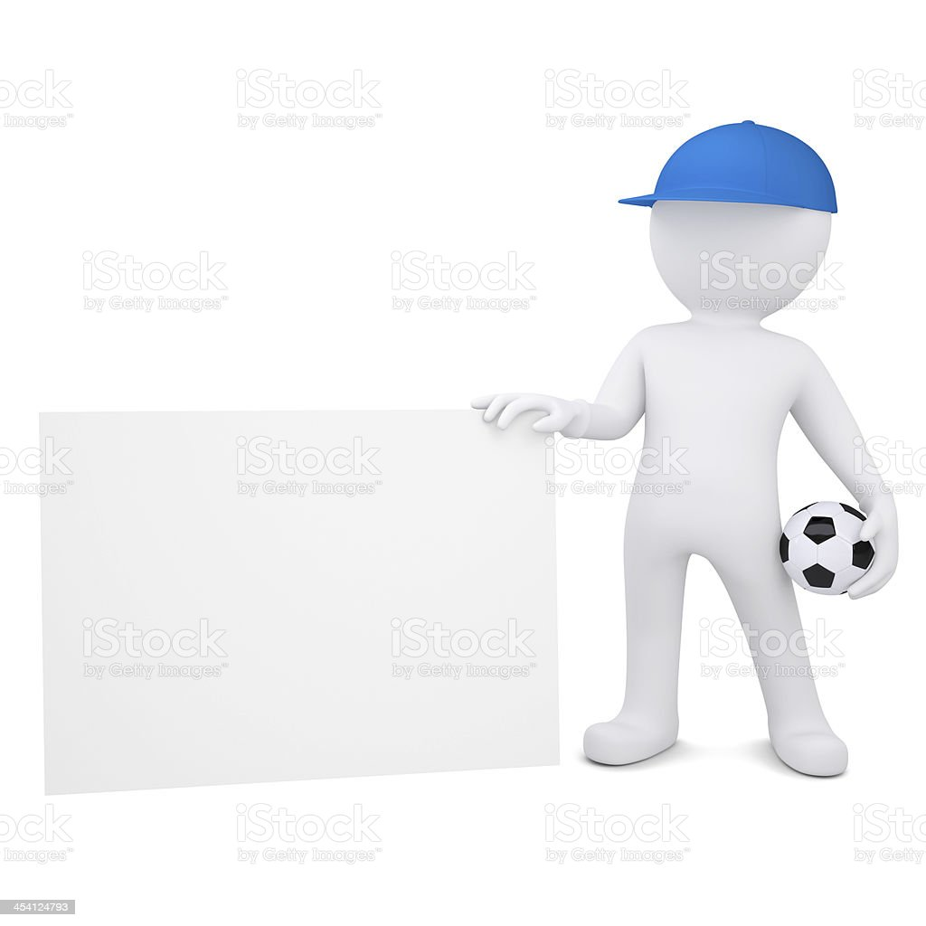 3d man with soccer ball hold blank business card royalty-free stock photo
