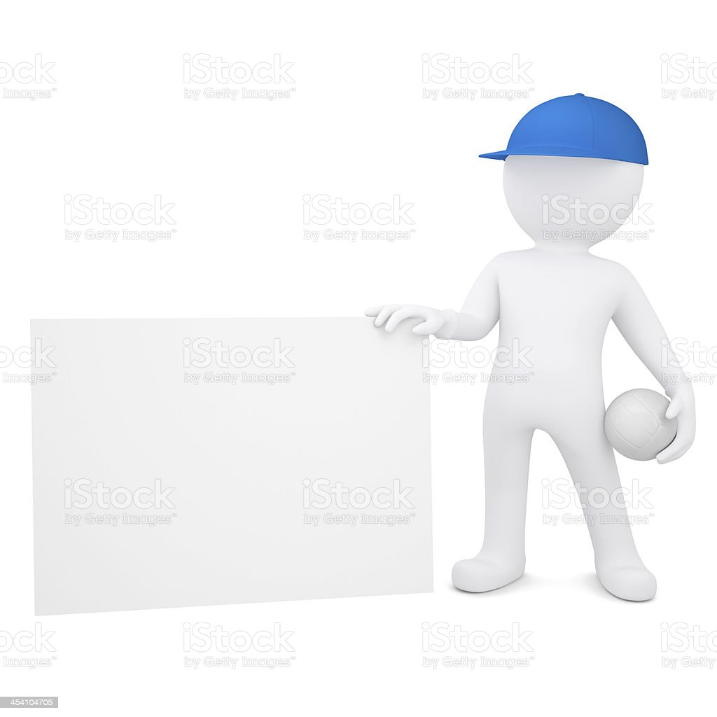 3d man with volleyball hold empty business card royalty-free stock photo