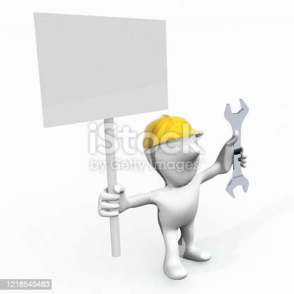 istock 3d man worker and banner 1218545483