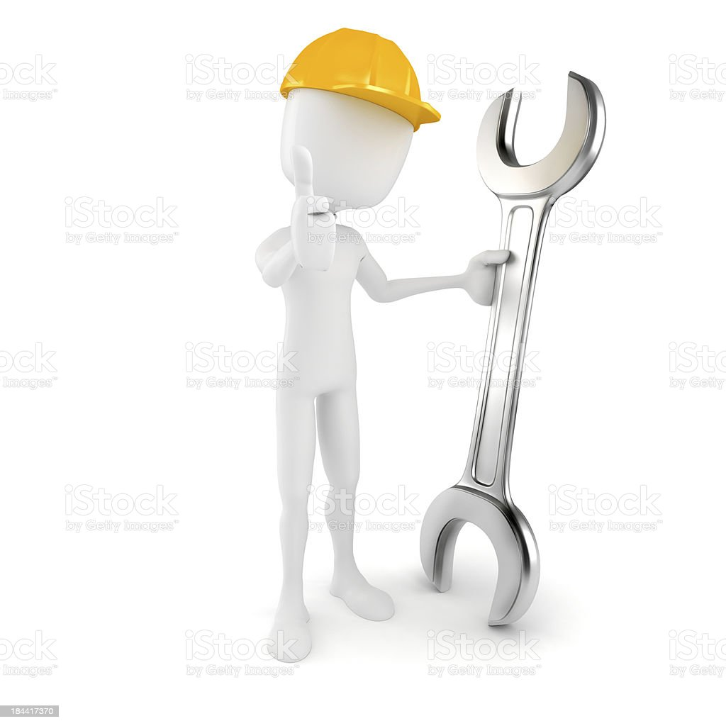 3d man worker holding a wrench, on white background royalty-free stock photo