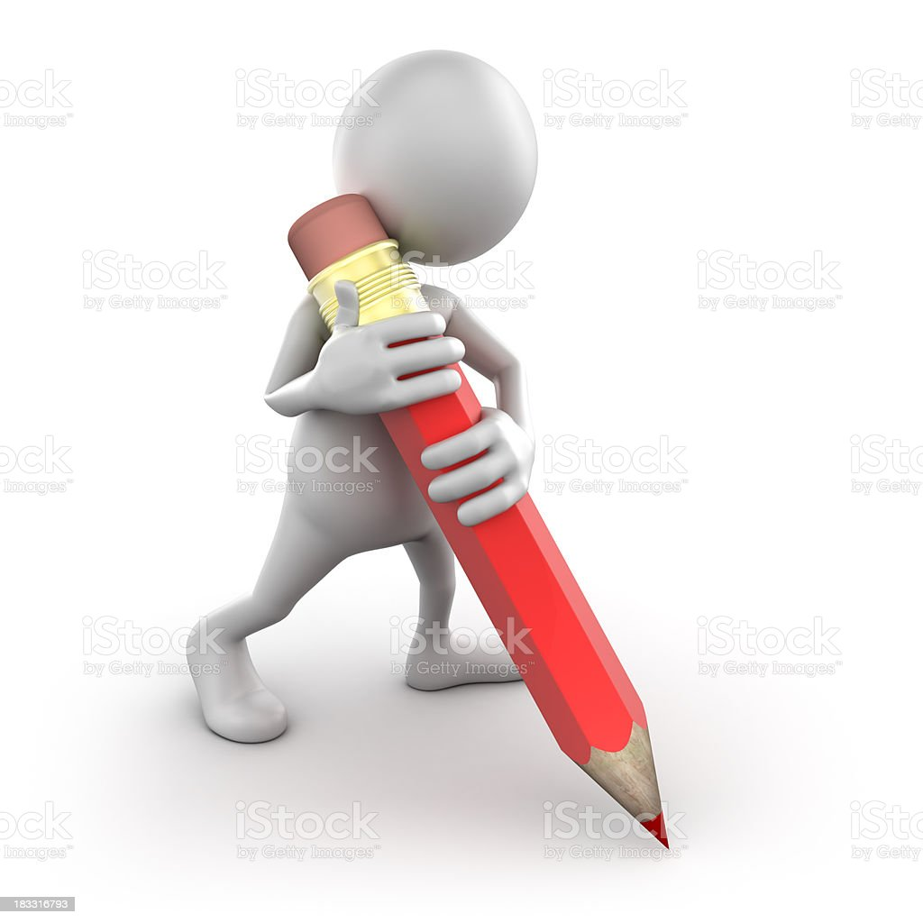 3d Man writing with big pencil, isolated/clipping path stock photo