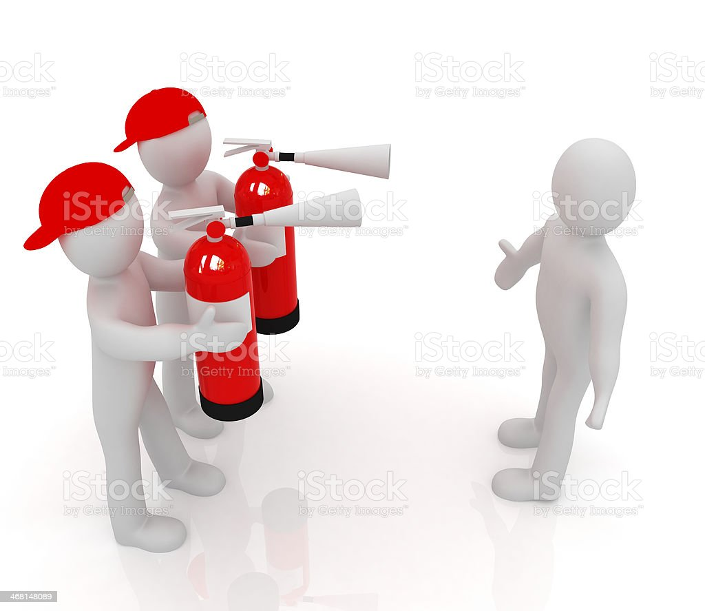 3d mans with red fire extinguisher. The concept of confrontation stock photo