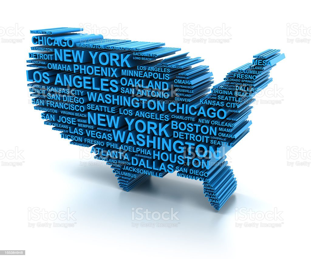 D Map Formed By Names Of Major Usa Cities Stock Photo - Us map 3d