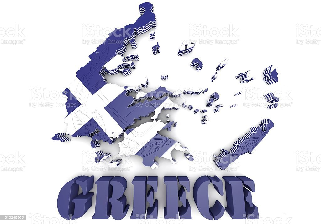 3d map illustration of Greece with flag and coat of arms stock photo