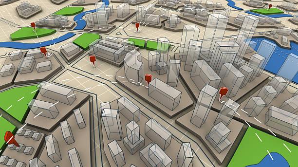 3d map navigation stock photo