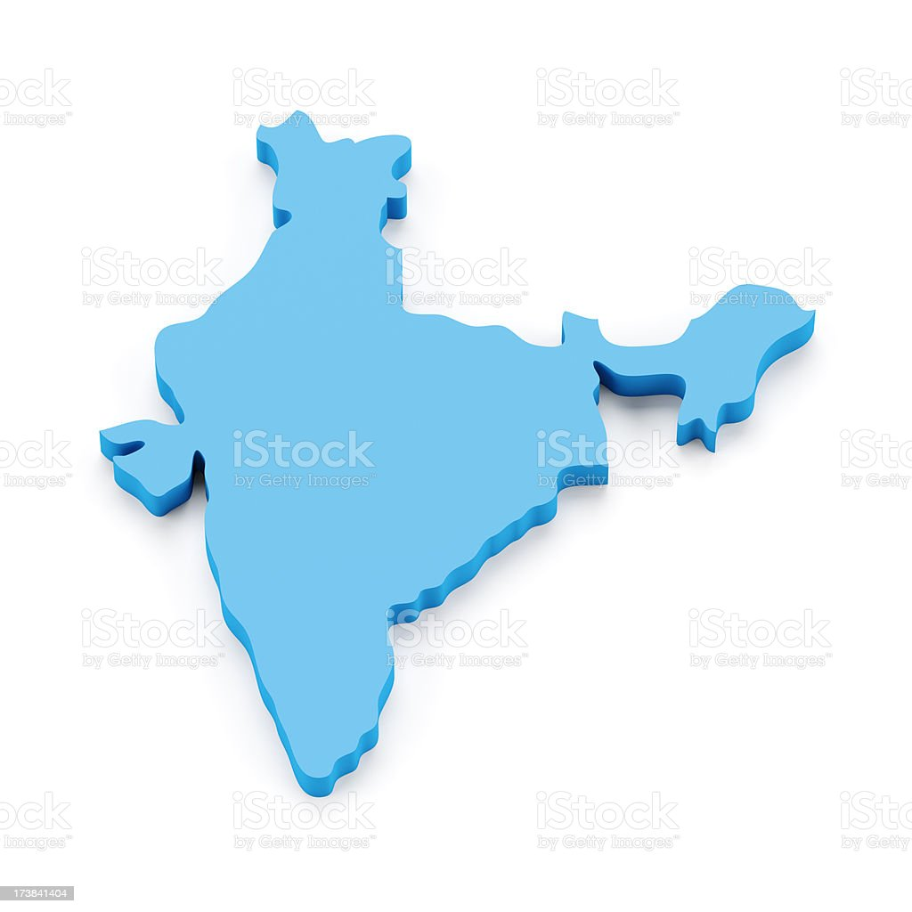 3d map of India isolated on white royalty-free stock photo
