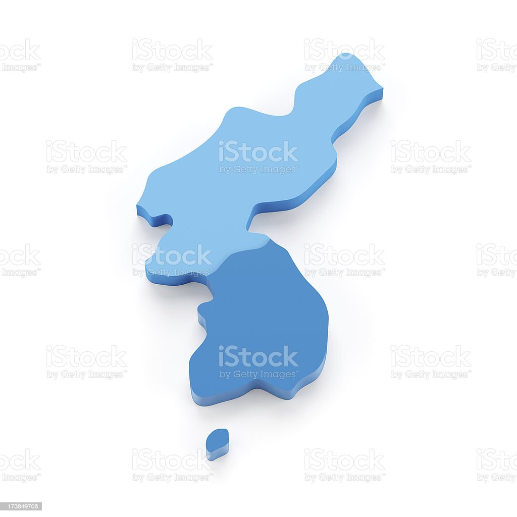 3d map of Korea peninsula isolated on white royalty-free stock photo