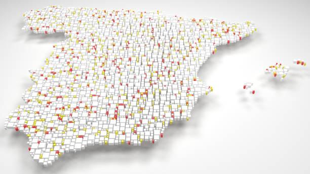 mapa 3d de españa - europa - andalusian flag fotografías e imágenes de stock