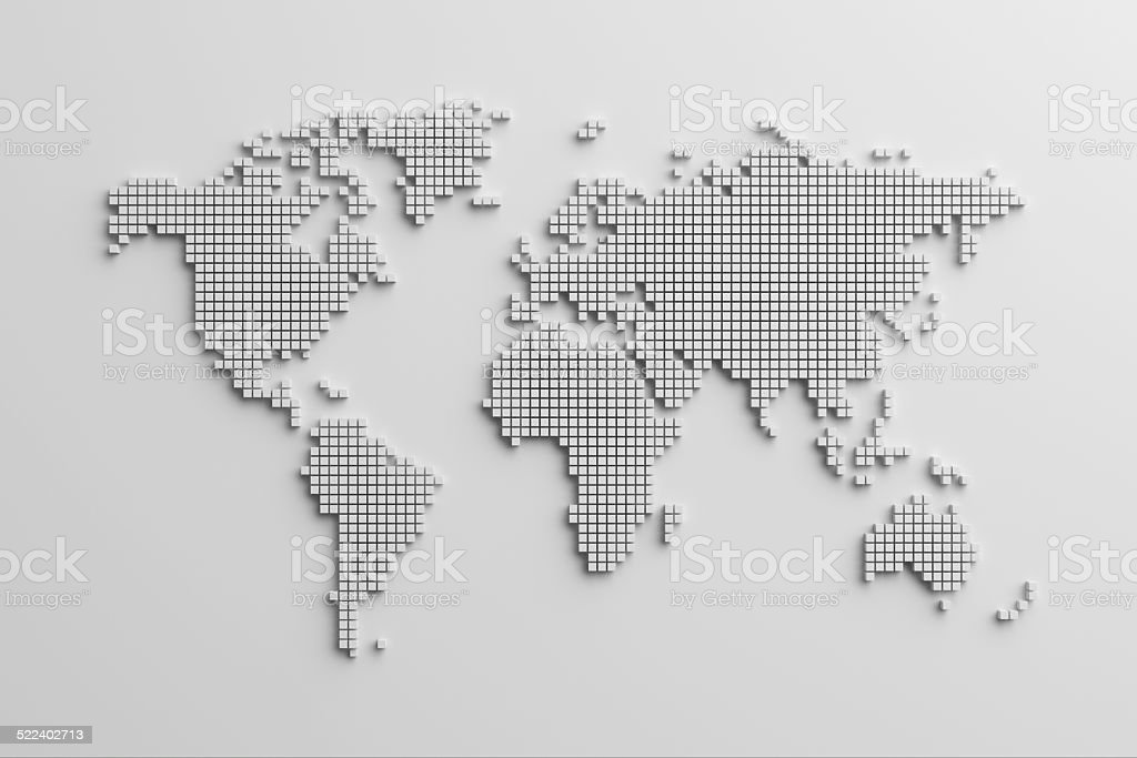 3d map of the world in dotted form stock photo