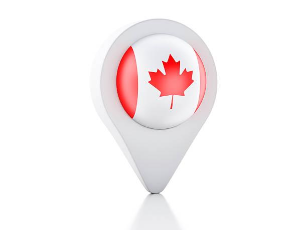 3 d map pointer kanada flagge auf weißem hintergrund - kanada rundreise stock-fotos und bilder