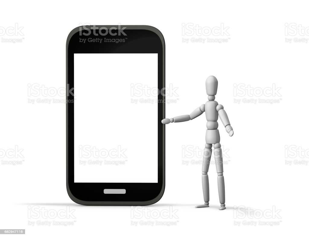 3d marionette showing mobile phone with blank screen, mock up illustration with copy space. royalty-free stock photo