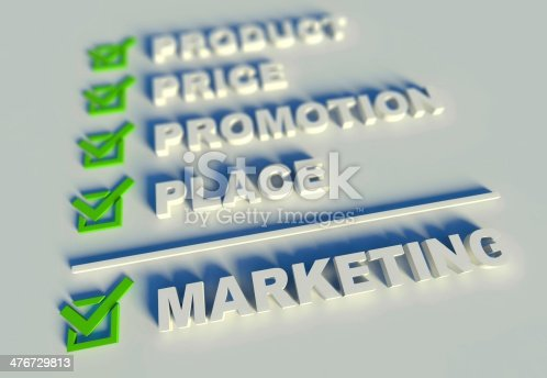 istock 3d marketing mix concept with keywords 476729813