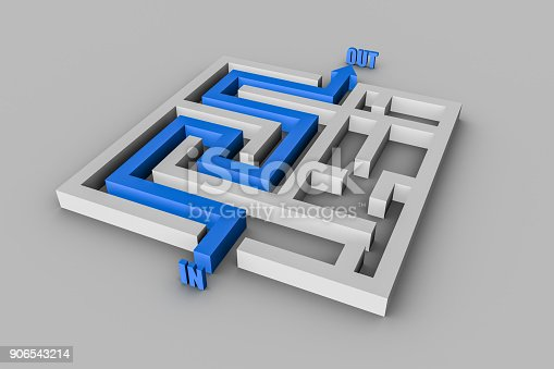 157434064istockphoto 3d maze with arrow out of exit 906543214