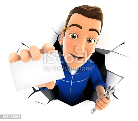 istock 3d mechanic coming out through a wall with company card 638293364