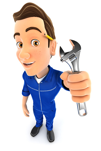 istock 3d mechanic holding adjustable wrench 629761092