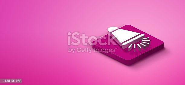 istock 3d megaphone icon on pink abstract background 1155191162