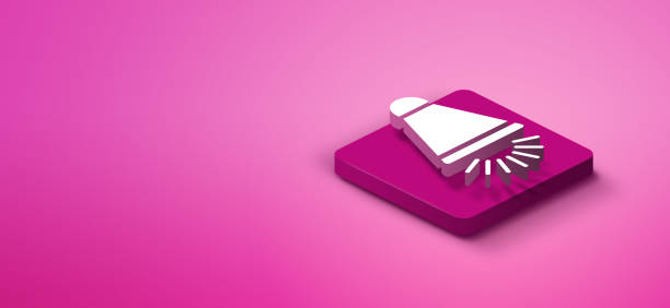 3d megaphone icon on pink abstract background - advertising isometric stock photos and pictures