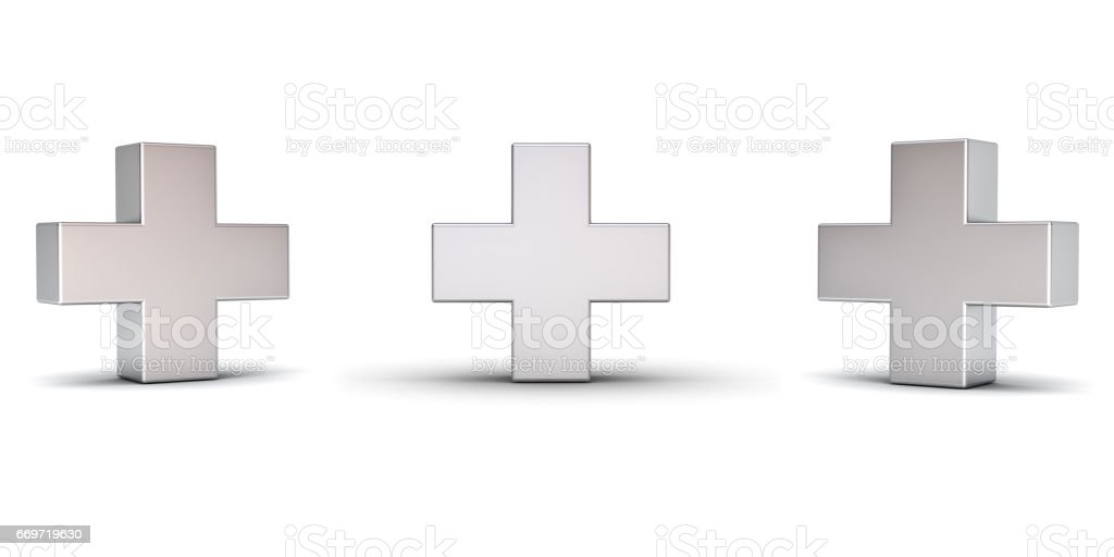 3d metal plus sign with three different view angles isolated on white background with shadow. 3D rendering stock photo