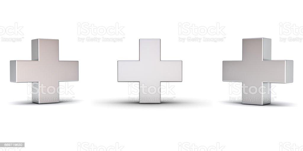 3D metalen plusteken weergegeven met drie verschillende hoeken geïsoleerd op een witte achtergrond met schaduw weergeven 3D-rendering foto