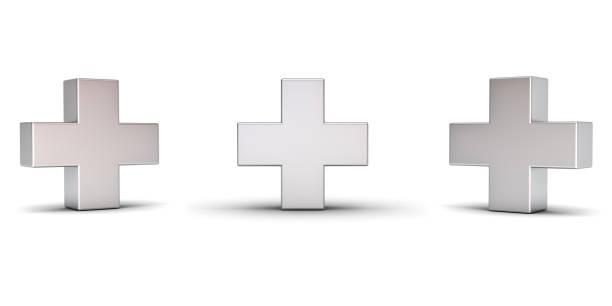 3d metall plus-zeichen mit drei verschiedenen blickwinkeln isoliert auf weißem hintergrund mit schatten. 3d-rendering - plus stock-fotos und bilder