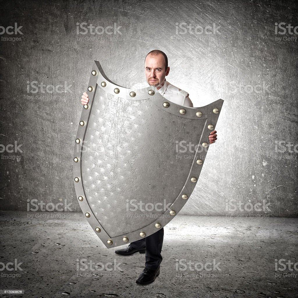 3d metal shield stock photo