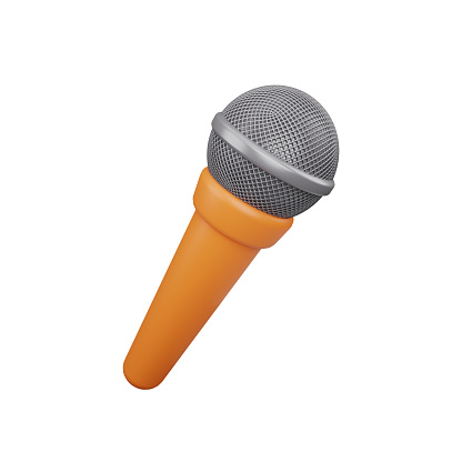 3d rendering microphone icon isolated on white. 3d microphone illustration