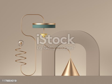 istock 3d minimal abstract background with primitive geometric shapes. Gold metallic wire, golden cone, cylinder platform. 1179654019