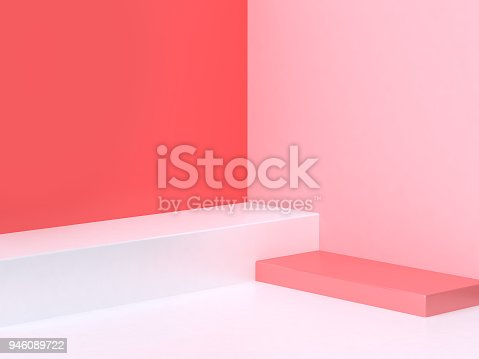 istock 3d minimal abstract pink-red background wall corner scene square podium 3d rendering 946089722