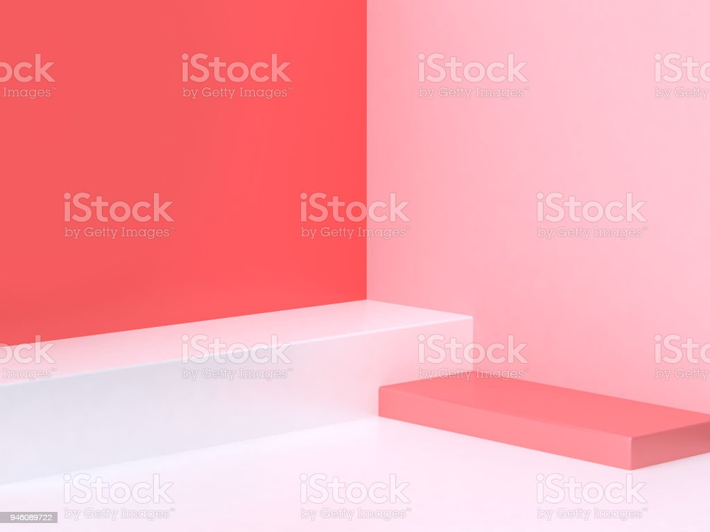 3d minimal abstract pink-red background wall corner scene square podium 3d rendering stock photo