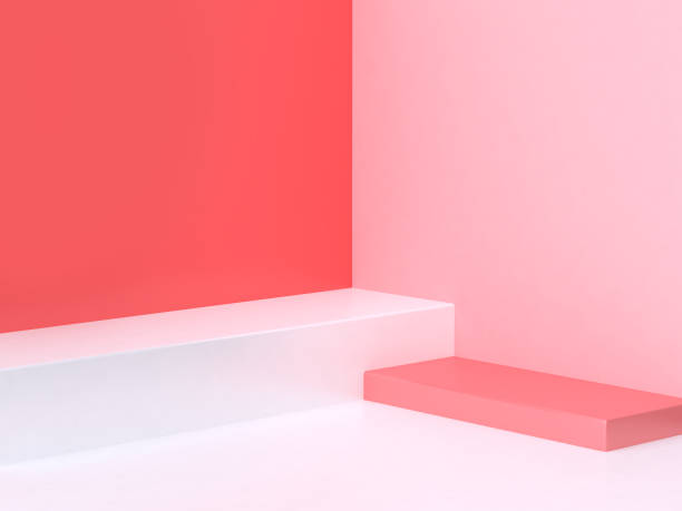 3d minimal abstract pink-red background wall corner scene square podium 3d rendering 3d minimal abstract pink-red background wall corner scene square podium 3d rendering studio stock pictures, royalty-free photos & images